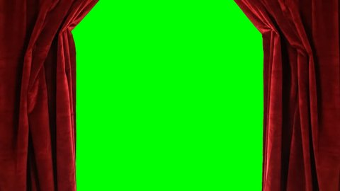 Red velvet stage curtains open to reveal green screen. Png file with alpha channel.