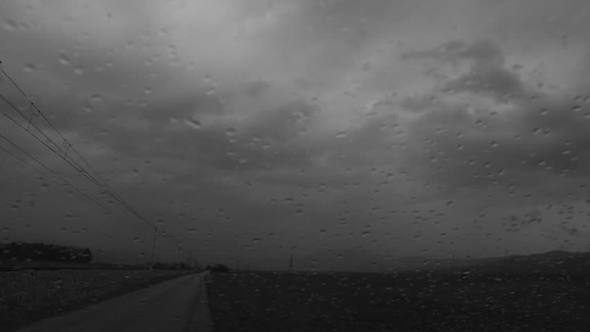 Stormy weather outside of car window. - HD stock video clip