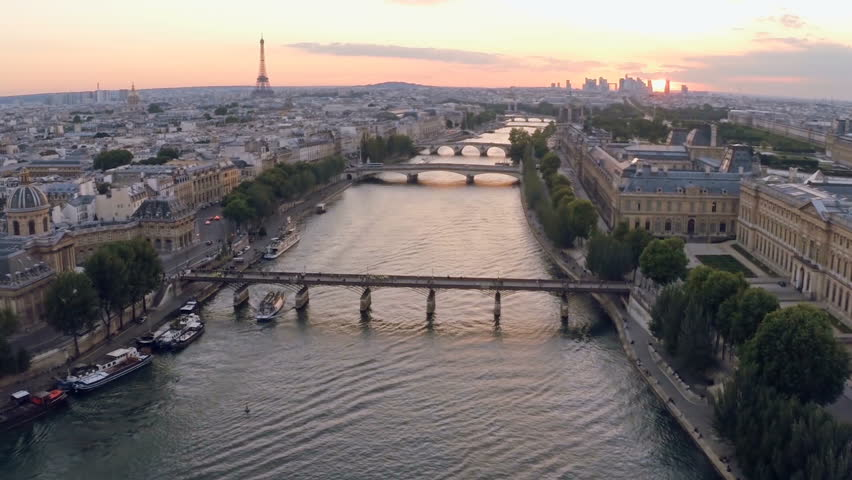 Aerial view of Seine river in Paris, France.  | Shutterstock HD Video #16421806
