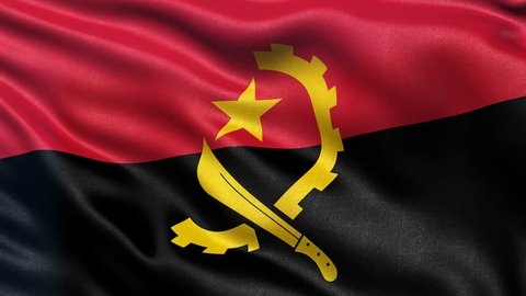 Seamless loop of flag of Angola waving in the wind with highly detailed fabric texture.