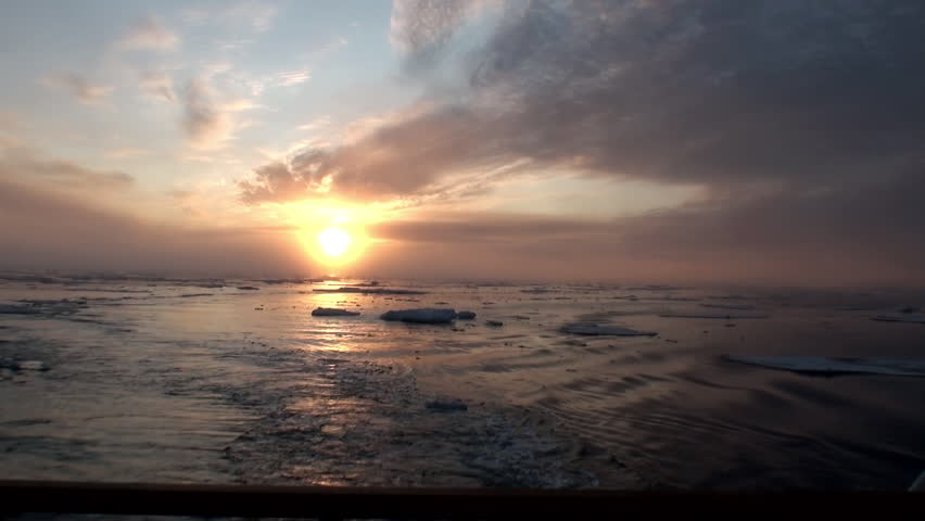 Sunset in the ocean among the icebergs and ice in the Arctic. Fantastic wonderful amazing video grenland nature iceland. Lovely shooting the life of nature, seaside and mountains. Global warming. | Shutterstock HD Video #16443844