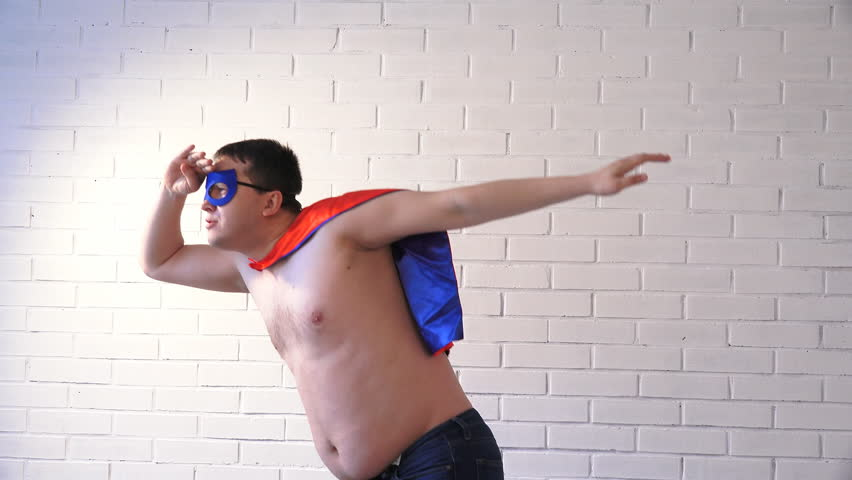 a fat man in a superhero costume