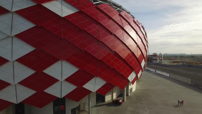 Spartak Otkritie Arena stadium close view. From above. Modern Moscow city Russia. Unique Aerial drone footage. Fifa 2018