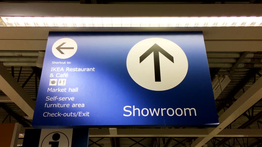 Coquitlam, BC, Canada   May 05, 2016 : Showroom Direction Sign Inside Ikea