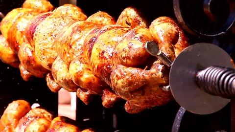Rotisserie Chicken grill rotating