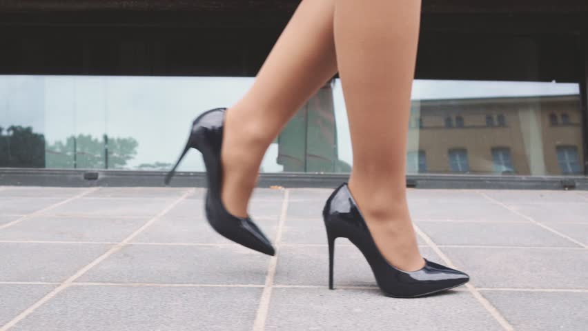 Sexy Woman Legs In Black High Heels Shoes Walking In The City ...
