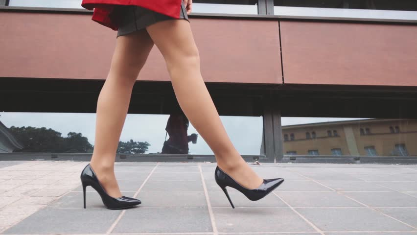 Sexy Woman Legs In Black High Heels Shoes Walking In The City Urban Street Steadicam