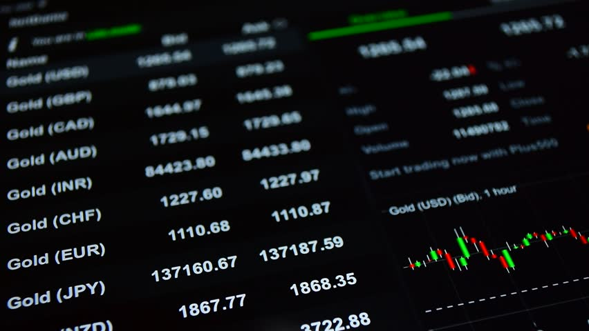 Stock market background. Financial, investment, forex, stock exchange trading concept: market data, gold prices on the stock exchange trading screen, gold rate tickers at the black background. | Shutterstock HD Video #16504714