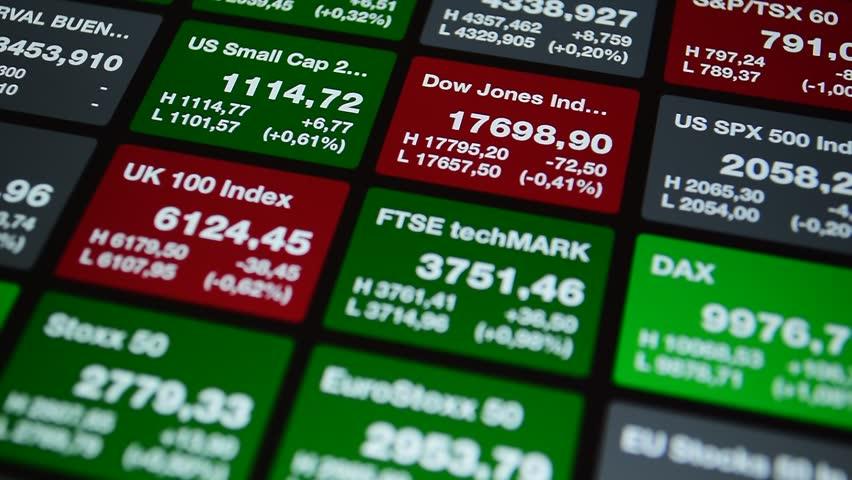 Stock exchange board with quotes of index Dow Jones, DAX, FTSE, Stoxx. Stock exchange ticker board, market price on the online stock exchange trade floor.