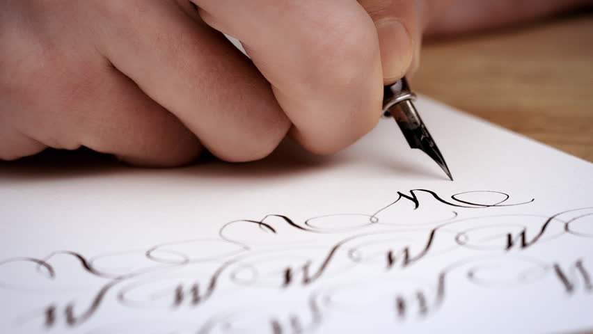 Man writing letter calligraphy lesson close up slow motion man writing letter calligraphy lesson close up slow motion hd stock video altavistaventures Images