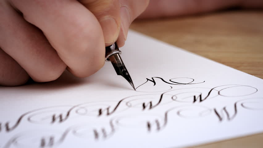 Man writing letter calligraphy lesson close up slow motion man writing letter calligraphy lesson close up slow motion hd stock video thecheapjerseys Choice Image