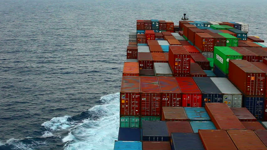 Galle, Sri Lanka - April 6, 2014: Container ship at sea crossing through the Indian Ocean. | Shutterstock HD Video #16566664