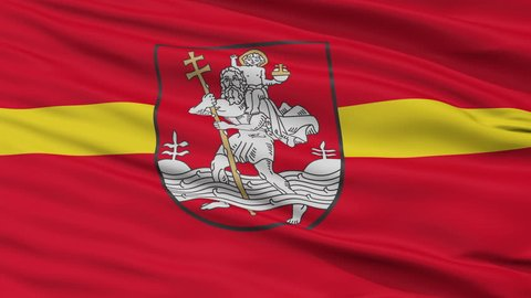 Vilnius Capital City Flag of Lithuania, Close Up Realistic 3D Animation, Seamless Loop - 10 Seconds Long