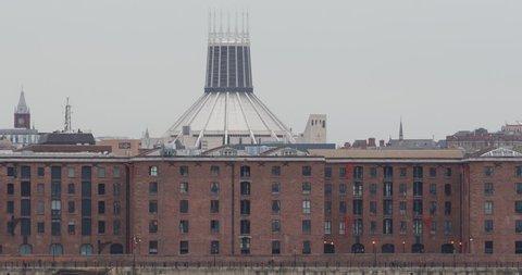 Liverpool Skyline Metropolitan Cathedral Colonnades Albert Dock Warehouse UK Day ( Ultra High Definition, UltraHD, Ultra HD, UHD, 4K, 2160P, 4096x2160 )