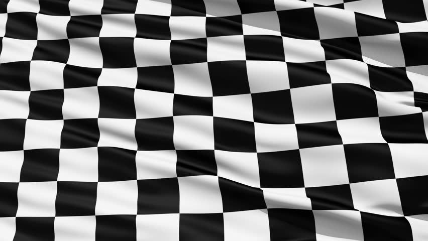 Fluttering Black And White Chequered or Checkered Flag used in racing and motorsport events.