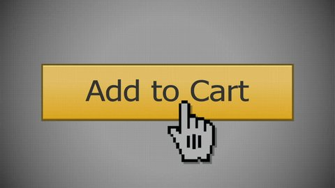 Clicking on an Add to Cart button with a mouse pointer. With optional luma matte.