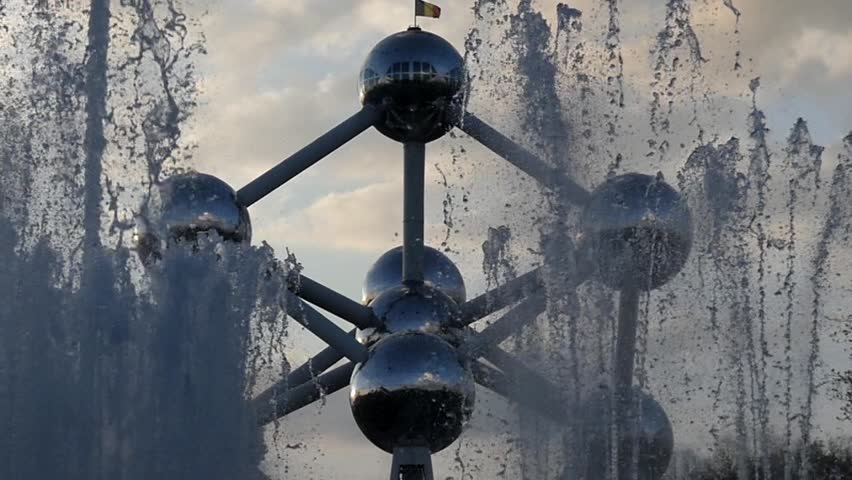 Brussel/belgium - May 11 2016: the Famous Sculpture Atomium in Belgium. the Action in Real Time.
