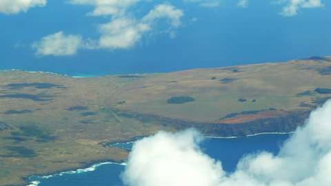 Aerial view of Volcano Rano Raraku on Easter Island (Rapa Nui) in Chile