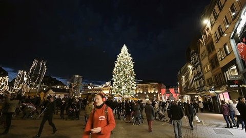 STRASBOURG, FRANCE - CIRCA 2016: Best Christmas tree in the Place Kleber, center of Strasbourg during the oldest Christmas market in Alsace