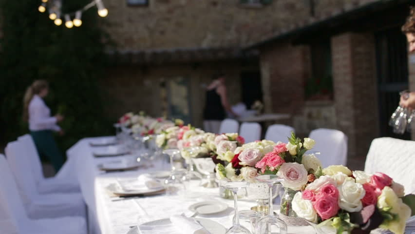 Stock video of beautiful wedding table setting. waiters served ...