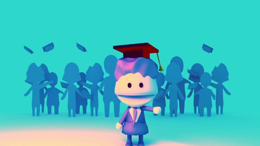 Stock Video Clip of 3d rendering cartoon students in graduation gown ...