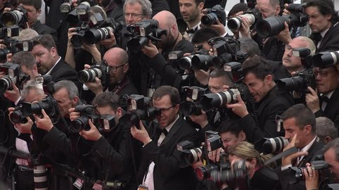 Cannes - May 14: Shot of Photographers on the red carpet at the Cannes Film Festival 2016