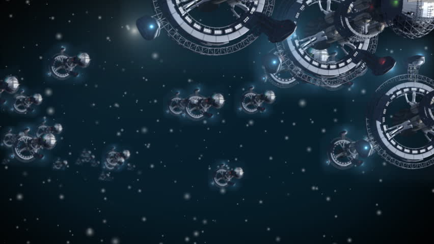 3D fantasy with futuristic space ships in interstellar deep space travel