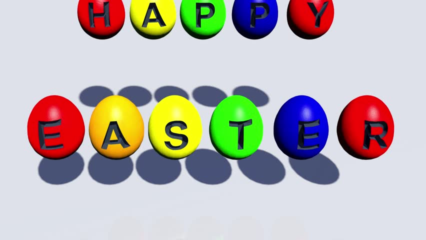 Jumping eggs as a happy easter animation on white background