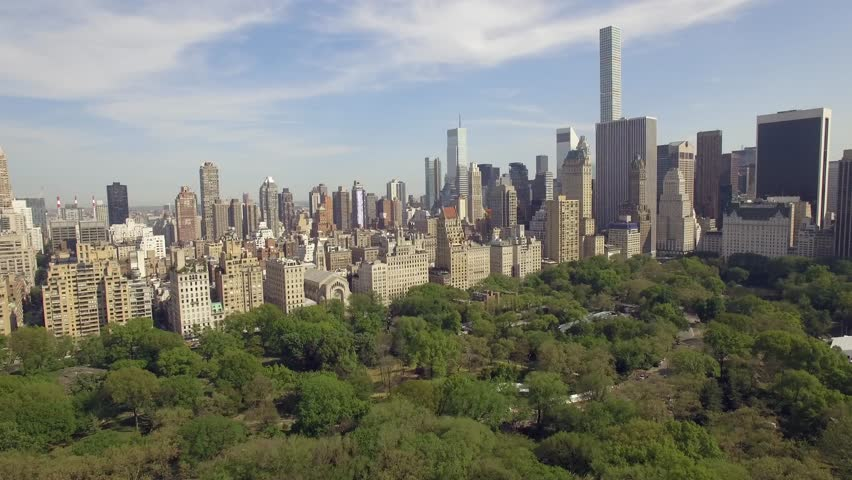Flying above the Central park in New york city. Amazing aerial picture from different heights