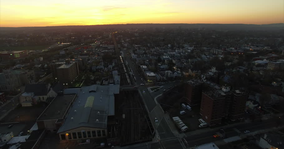 Newark New Jersey East Orange Aerial Of Gorgeous Golden Sunset