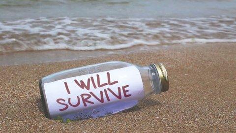 I will survive written on paper in a bottle