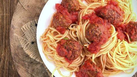 Portion of Spaghetti with Meatballs (not loopable; 4K)