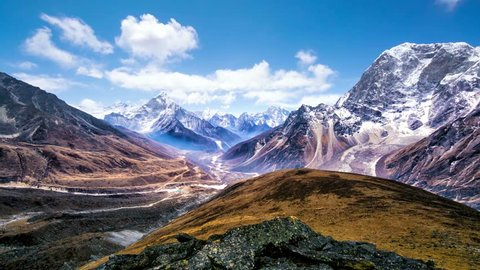 4k Timelapse, View of the magical Himalayas (Ama Dablam view, from Awi peak, 5200 m). Awi peak is a part of Everest Base Camp trek, one of the most popular trekking routes in the Himalayas.