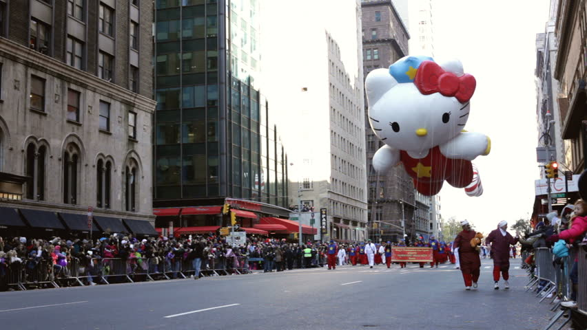 NEW YORK CITY, NY - NOVEMBER 24: Hello Kitty Balloon in the Macy's 85th Annual Thanksgiving Day Parade on November 24, 2011 in New York City, New York.