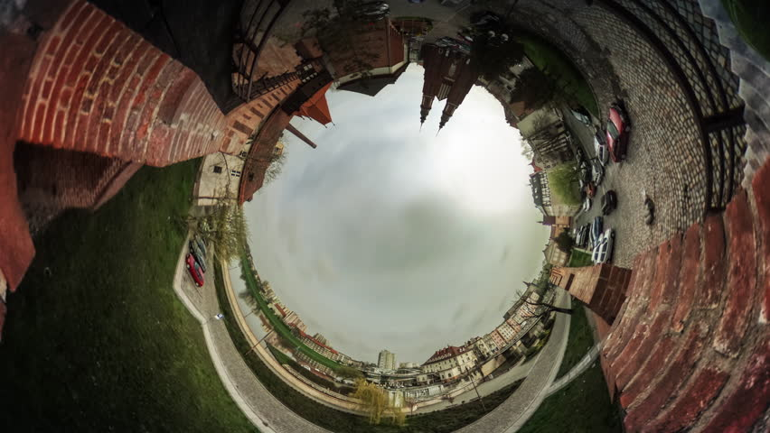 People Are Walking by a Square, Cars, Two Towers of a Cathedral, vr Video 360, Little Planet Video, Video For Virtual Reality, Time Lapse, Paving Stones, Red Bricks Buildings, Vintage Buildings,
