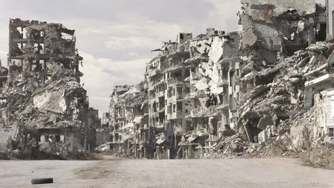 Dolly pan shot of the destruction in syria