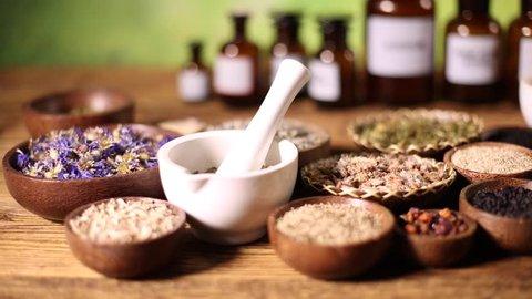 Herbs medicine and vintage wooden