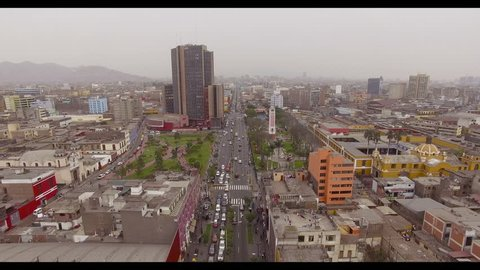 Panoramic view of the Armendaris downhill and highway in Miraflores, Lima, Peru.