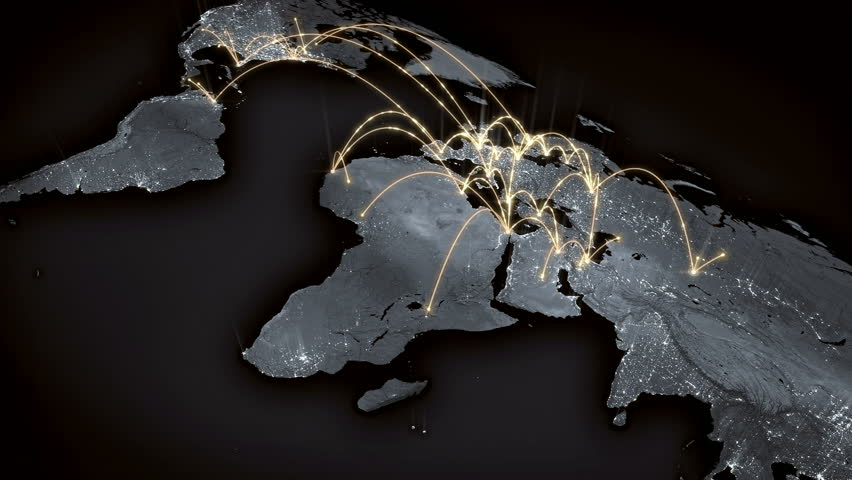 Growing global network across the world map. Internet and business concept. Orange version. 4K