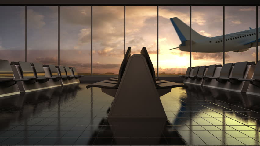 Departure airplane in flight waiting hall. sunset. moving camera. | Shutterstock HD Video #16825564