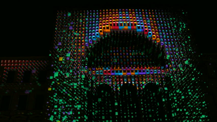 TIMISOARA, ROMANIA - MAY 20: Light show projected on the Opera building. Public show organized by the City Hall with the occasion of designation the city as cultural capital of Youth in Romania. 4K. | Shutterstock HD Video #16848184