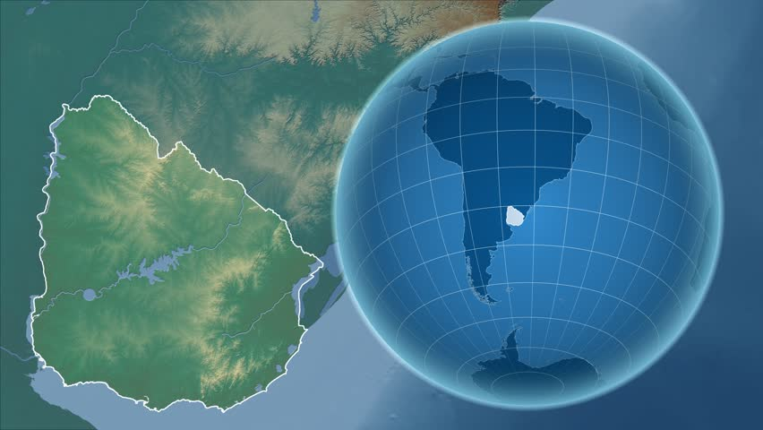 Uruguay Shape Animated On The Physical Map Of The Globe Stock - Uruguay physical map