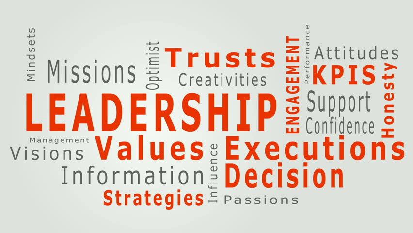 Animated business typo text pattern describing successful business elements like vision, values, decision, execution, mission, strategy, product quality, KPI concepts in red and white background.
