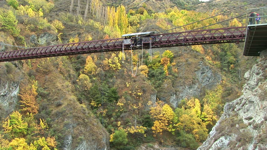 WS of bungee jumping in Queenstown