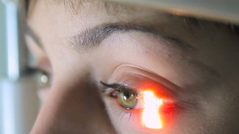 Scanning the retina among women with green eyes special ophthalmic device close-up