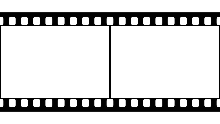35mm film strip moveing on white background. seamless loopable, Powerpoint templates