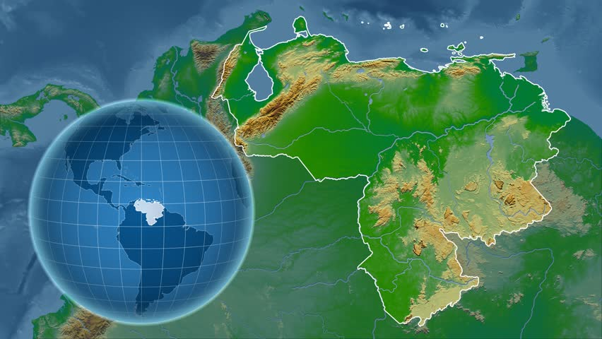 Guyana Shape Animated On The Physical Map Of The Globe Stock Footage