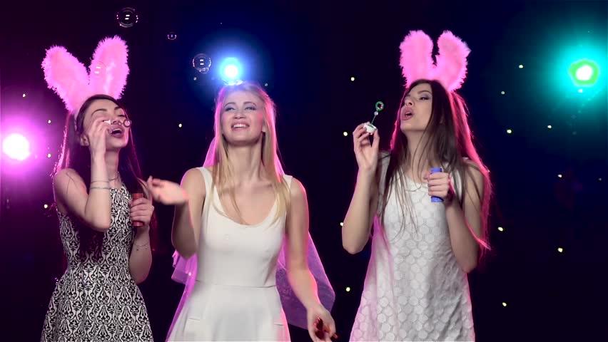 Happy Girls At Bachelorette Party Blowing Soap Bubbles Slow Motion