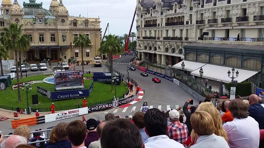 Monte-Carlo, Monaco - May 13, 2016: Old Racing Cars of Grand Prix Historique of Monaco 2016 in Front of the Monte-Carlo Casino