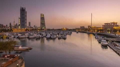 Yachts and boats at the Sharq Marina day to night timelapse hyperlapse in Kuwait. Kuwait City, Middle East
